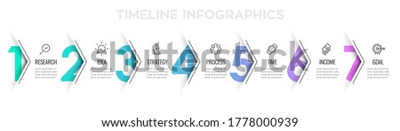 Vector Infographic arrow design with 7 options or steps. Infographics for business concept. Can be used for presentations banner, workflow layout, process diagram, flow chart, info graph