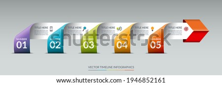 Vector infographic arrow timeline template with 5 steps. Origami style. Can be used for web design, brochure, diagram, chart, graph, business presentation.