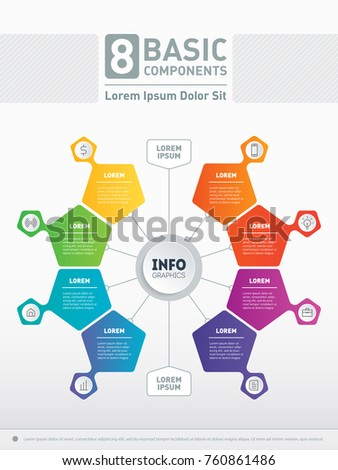 Vector infographic. 8 basic components of business, technology or education process. Business concept with 8 options. Part of the report.  Web Template of a circle chart, diagram or presentation