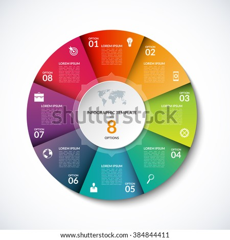 Vector infographic circle template with 8 steps, parts, options, sectors, stages. Can be used for graph, pie chart, workflow layout, cycling diagram, brochure, report, presentation, web design.