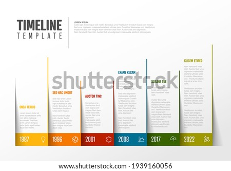 Vector Infographic Company Milestones Colorful Timeline Template made from pages corners with color border and icons. Colorful time line with years