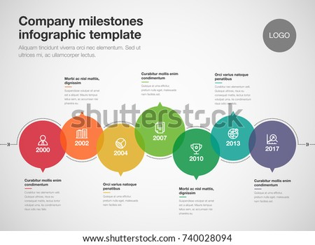 Vector infographic company milestones timeline template isolated on light background. Easy to use for your design.