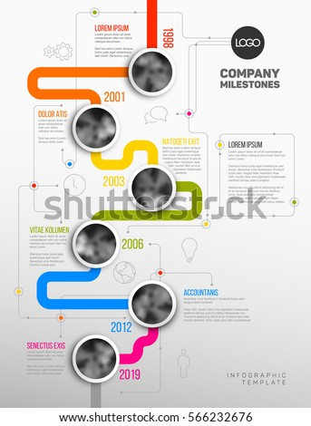 Vector Infographic Company Milestones Timeline Template with circle photo placeholders on colorful line - vertical version