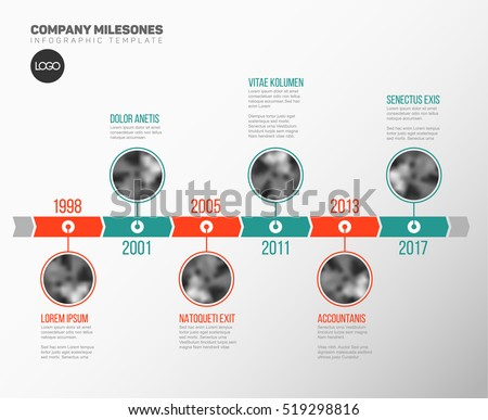 Vector Infographic Company Milestones Timeline Template with circle photo placeholders on dual color time line