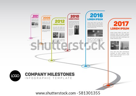 Vector Infographic Company Milestones Timeline Template with flag pointers and photo placeholders on a curved road line
