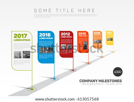 Vector Infographic Company Milestones Timeline Template with flag pointers and photo placeholders on a stright line