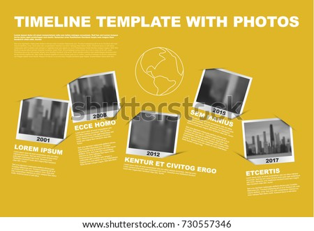 Vector Infographic Company Milestones Timeline Template with photo placeholders as snapshots