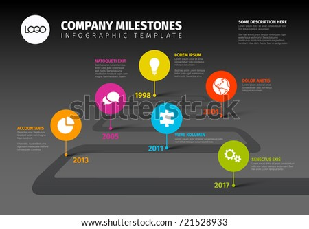 Vector Infographic Company Milestones Timeline Template with pointers on a road line - dark version