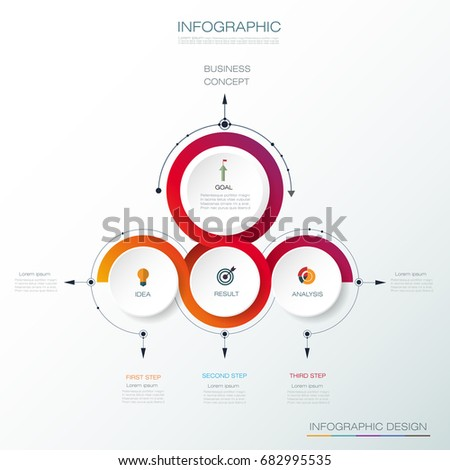 Vector Infographic 3D circle label design, Arrows sign and 3 options or steps. Can be used for business, infograph template, process infographics, diagram chart, flowchart, processes diagram,time line