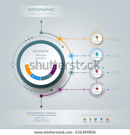Vector Infographic 3D circle label design with arrows sign and 4 options or steps. For business, infograph template, process infographics, diagram chart, flowchart, processes diagram, time line