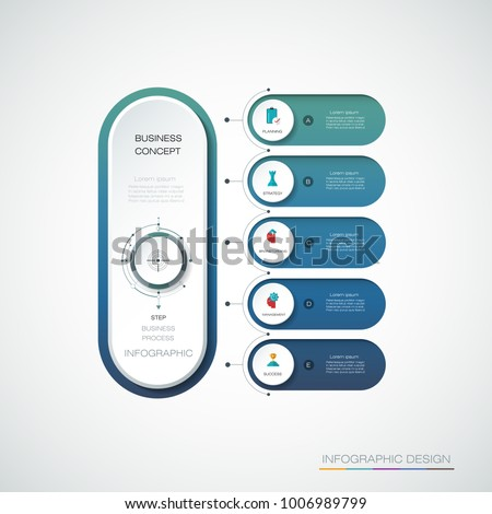 Vector Infographic 3d circle label, template design. Business planning concept, Infograph with 5 number options, steps. Infographic element for layout, process diagram,parts,chart,graphic,info graph