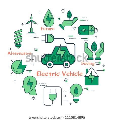 Vector infographic design of simple green icons for using alternative energy and electric vehicle on white background #1110814895