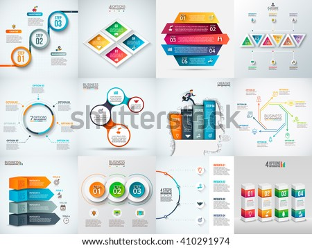 Vector infographic design template. Business concept with 3, 4, 5, 6, 7 and 8 options, parts, steps or processes. Can be used for workflow layout, diagram, number options. Data visualization.