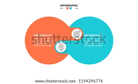 Vector infographic design template with circles connection and marketing icons. Business concept with 2 options.