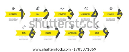 Vector Infographic design template with icons and 9 options or steps. Can be used for process diagram, presentations, workflow layout, banner, flow chart, info graph.