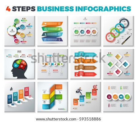 Vector infographic design templates. Business concept with 4 options, parts, steps or processes. Can be used for workflow layout, diagram, number options, web design. Data visualization.