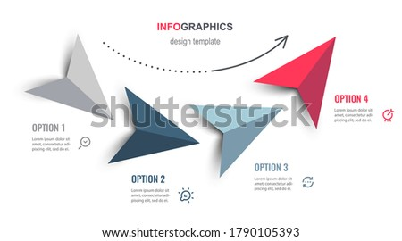 Vector Infographic design with arrows and 4 options or steps. Infographics for business concept. Can be used for presentations banner, workflow layout, process diagram, flow chart, info graph