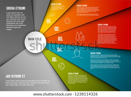 Vector Infographic diagram template made from lines and icons with five sections
