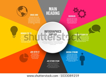 Vector Infographic diagram template with color sections, texts and icons