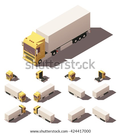 Vector infographic element representing truck with box semi-trailer in four views with different shadows