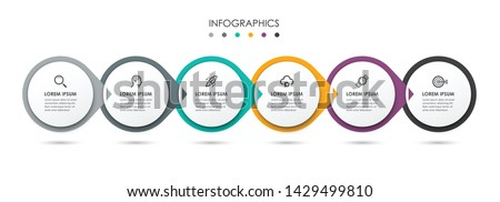Vector Infographic label design template with icons and 6 options or steps.  Can be used for process diagram, presentations, workflow layout, banner, flow chart, info graph.
