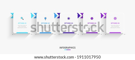 Vector Infographic label design template with icons and 5 options or steps. Can be used for process diagram, presentations, workflow layout, banner, flow chart, info graph. Foto stock ©