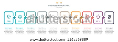 Vector Infographic label design with icons and 10 options or steps. Infographics for business concept. Can be used for presentations banner, workflow layout, process diagram, flow chart, info graph