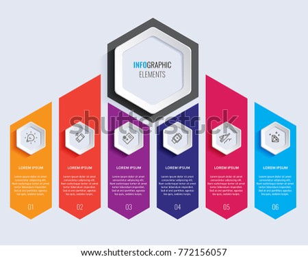 Vector Infographic label design with icons and 6 options or steps. Infographics for business concept. Can be used for presentations banner, workflow layout, process diagram, flow chart, info graph.