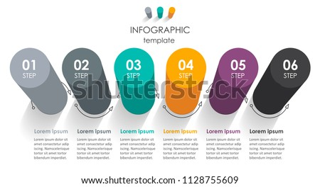 Vector Infographic label design with 6 options or steps. Infographics for business concept. Can be used for presentations banner, workflow layout, process diagram, flow chart, info graph