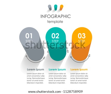Vector Infographic label design with 3 options or steps. Infographics for business concept. Can be used for presentations banner, workflow layout, process diagram, flow chart, info graph