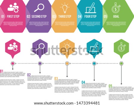 Vector infographic label template with icons and 5 options or steps. Hexagon vector design infographics. Vector illustration EPS.8 EPS.10