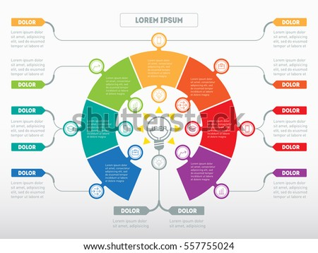 Vector infographic of technology or education process. Business concept with 7 options - from idea to final product. Web Template of a circle diagram or presentation. Part of the report with icons.