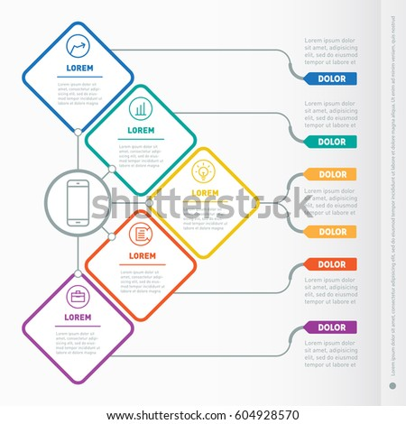 Vector infographic of technology or education process. Business presentation concept with five options. Web Template of a chart or diagram. Part of the report with icons set