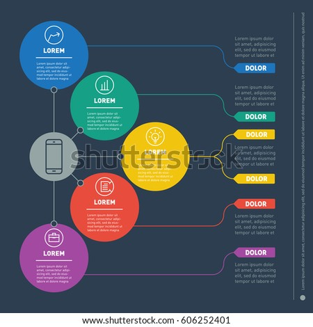 Vector infographic of technology or education process. Business presentation concept with five options. Web Template of a info chart, graphic or diagram. Part of the report with icons.