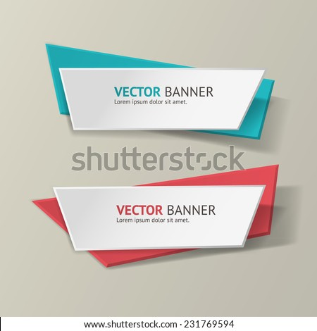 Vector infographic origami banners set. Bright colors
