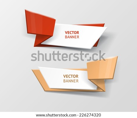 Vector infographic origami banners set. Vintage colors