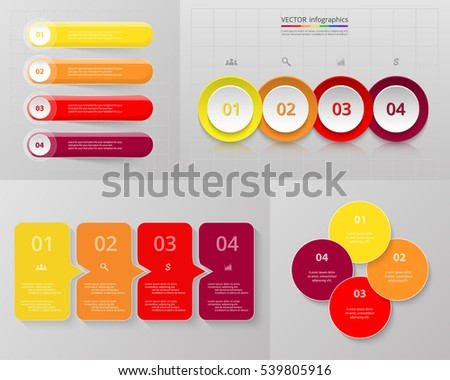 Vector infographic set. Business diagrams, round and arrows graphs, presentations and charts. Data infographics with 4 options, parts, steps, cycle processes.