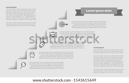 Vector infographic 5 steps template with easy line icons.
