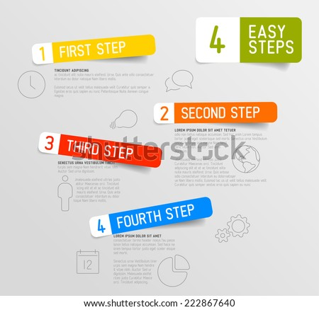 four steps modern infographic design template download free vector