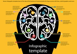 Vector Infographic template brain of the idea of the business of communication for Aqua success with lines, colorful graphics and icons.