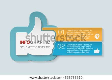 Vector infographic template, two options, thumb up.