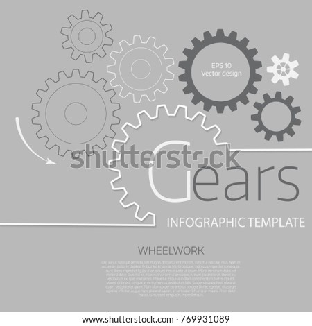 Vector infographic template with gears  on grey background. Business and industry concept with options, parts, steps, processes.
