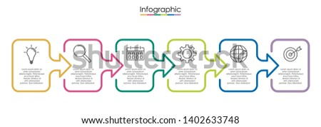 Vector infographic template with six steps or options. Illustration presentation with line elements icons.  Business concept design can be used for web, brochure, diagram, chart or banner layout.