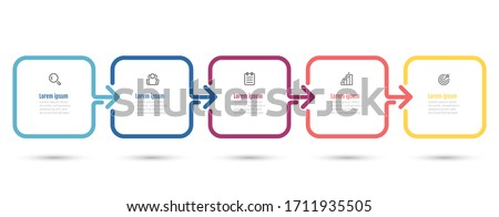 Vector infographic thin line arrow design label with icons. Business concept with 5 options or steps.