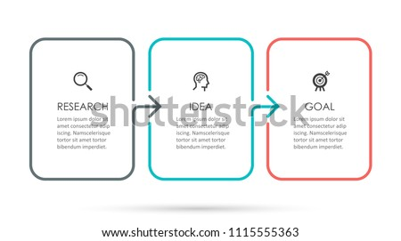 Vector Infographic thin line design with icons and 3 options or steps. Infographics for business concept. Can be used for presentations banner, workflow layout, process diagram, flow chart, info graph Stock photo ©