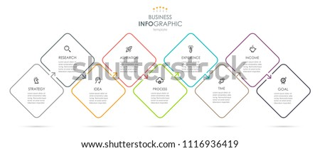 Vector Infographic thin line design with icons and 9 options or steps. Infographics for business concept. Can be used for presentations banner, workflow layout, process diagram, flow chart, info graph