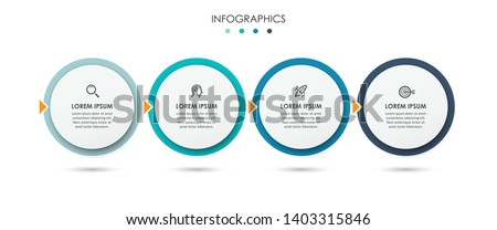 Vector Infographic thin line design with icons and 4 options or steps. Infographics for business concept. Can be used for presentations banner, workflow layout, process diagram, flow chart, info graph