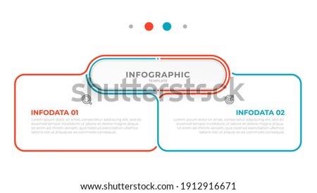 Vector infographic thin line design with marketing icons. Business concept with 2 options, steps or processes.