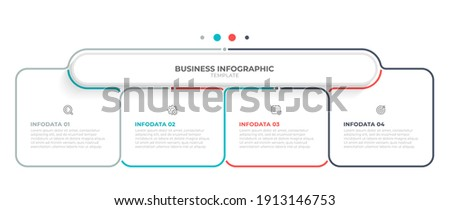 Vector infographic thin line design with marketing icons. Business concept with 4 options, steps or processes.