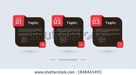 Vector infographic three options,  infographic 3 levels pricing plan banners, infographic template for Marketing presentation slide, Business labels concept, 3 options, parts, steps, processes.